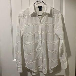 Ann Taylor Petite white button up shirt
